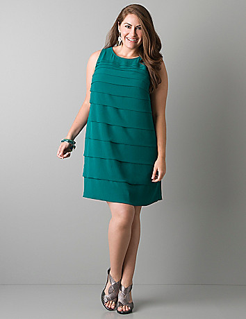 Plus sized Tiered chiffon dress by Lane Bryant