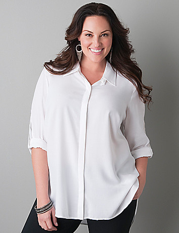Beaded placket button front tunic by Lane Bryant