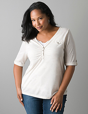 Plus size raw edge henley top by Lane Bryant
