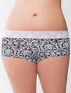 Lace waist boyshort panty by LANE BRYANT