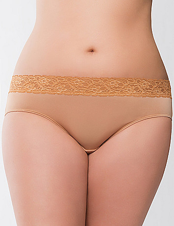 Lace waist hipster panty by Cacique
