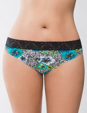 Tropical burst lace waist thong