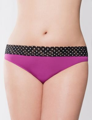 Sparkling grape dot lace waist thong