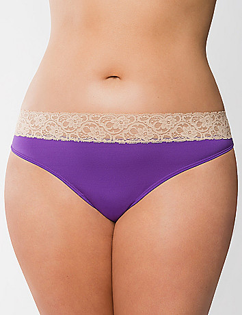 Lace waist thong panty by Cacique