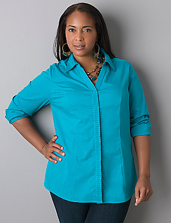 Pleated front long sleeve shirt by Lane Bryant