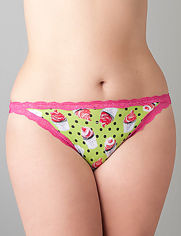 Lace trim cotton string bikini panty by Cacique