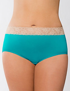 Lace waist full brief panty by Cacique