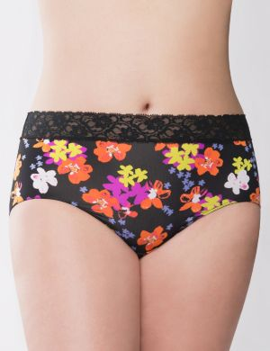 Black sprout floral lace waist brief