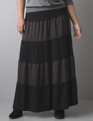 Mixed fabric maxi skirt