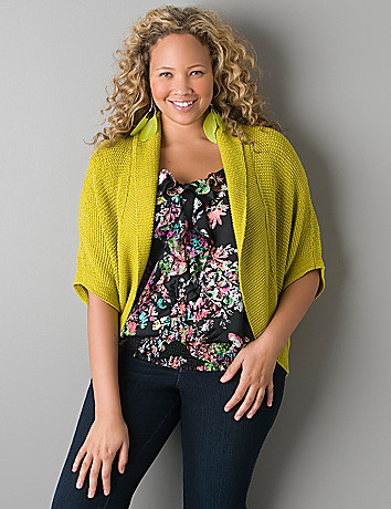 Short sleeve dolman cardigan by Lane Bryant
