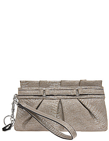Pleated lizard wristlet bag by Lane Bryant