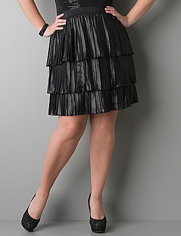 Full figured Tiered pleat skirt by DKNY JEANS