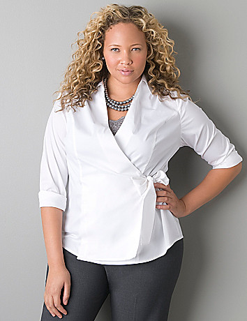 Woven wrap shirt by Lane Bryant