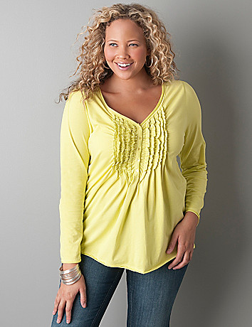 Ruffled long sleeve henley top by Lane Bryant