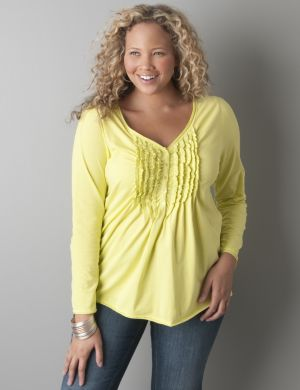 Ruffled long sleeve henley top