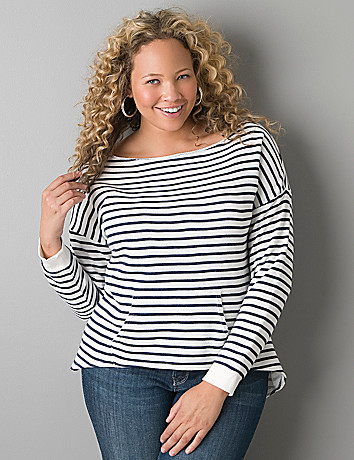Striped boat neck sweatshirt by Lane Bryant