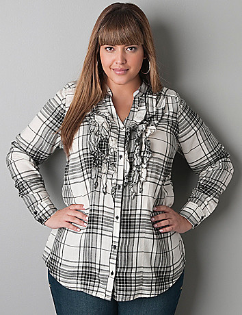 Ruffled placket plaid shirt by Lane Bryant