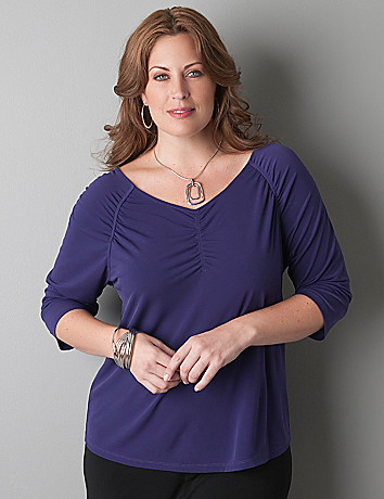 Shirred accent 3/4 sleeve top by Lane Bryant