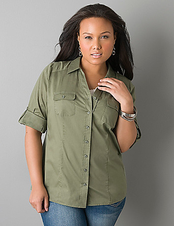 Rolled cuff woven shirt by Lane Bryant