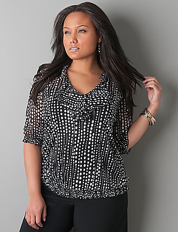 Polka dot sheer peasant top by Lane Bryant