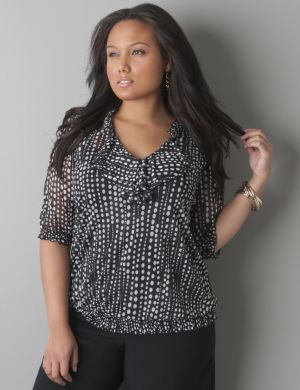 Polka dot sheer peasant top