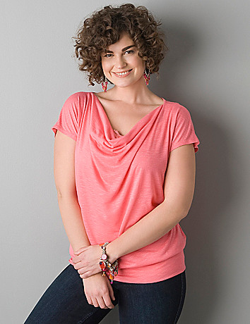 Banded bottom drape neck top by Lane Bryant