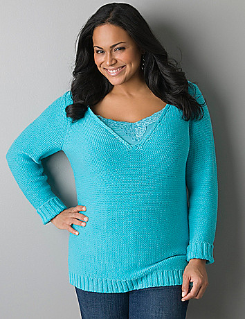 Deep V-neck sweater by Lane Bryant