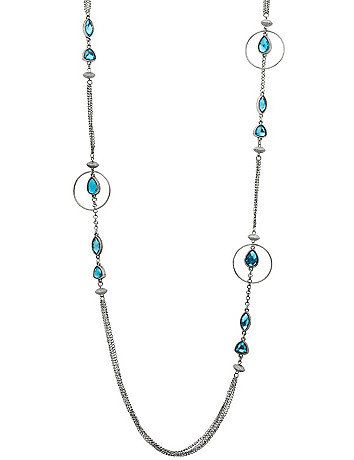 Hoop & stone chain necklace by Lane Bryant