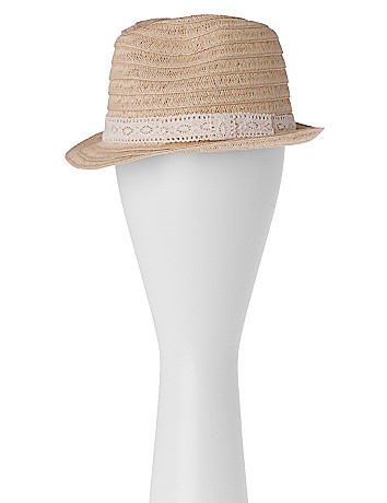 Straw fedora by Lane Bryant