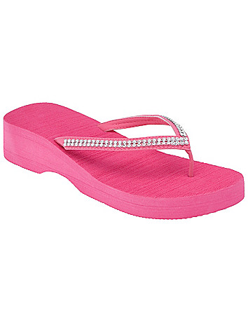 Wide Rhinestone strap wedge sandal by Lane Bryant