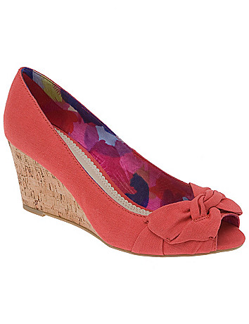 Peep toe canvas wedge heel by Lane Bryant