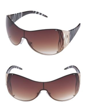 Zebra print shield sunglasses