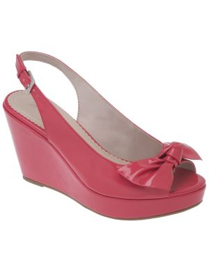 Peep toe sling back wedge