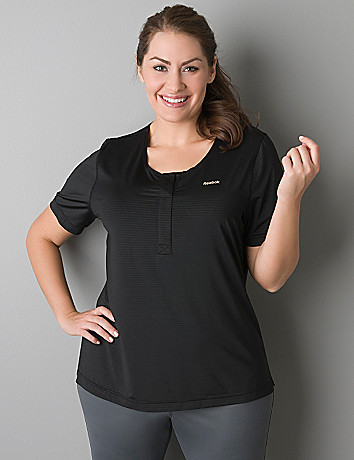Striped henley active tee by Reebok