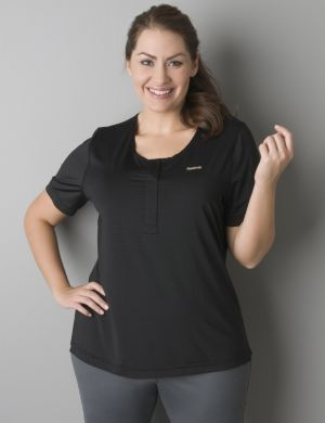 Striped henley active tee by Reebok®