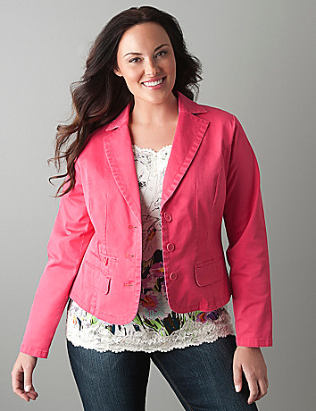 Plus size Twill blazer by Lane Bryant