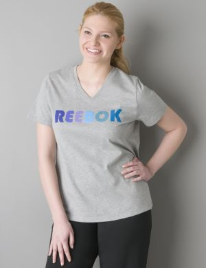 V-neck logo tee by Reebok®