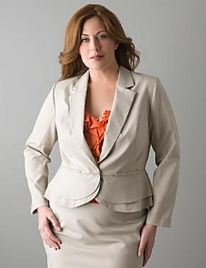 Plus Size Glen plaid peplum jacket