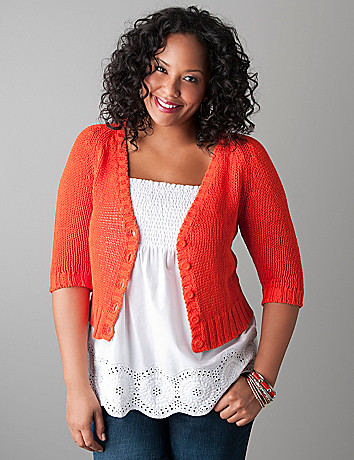 Cable knit cardigan by Lane Bryant