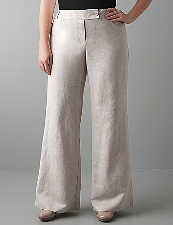 Wide leg linen pant by Lane Bryant