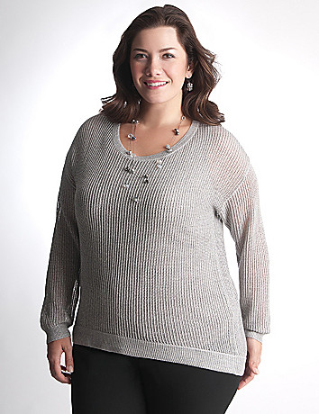 Full Figure High low shimmer sweater