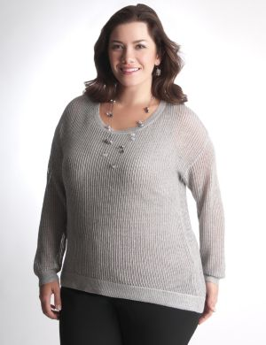 High low shimmer sweater