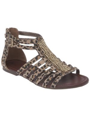 Embellished animal print gladiator sandal