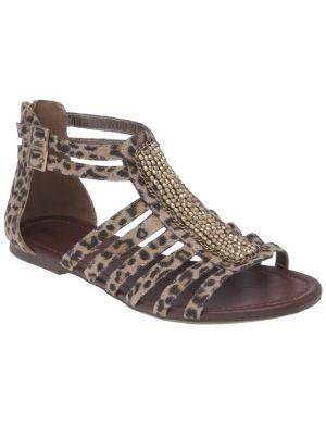 Embellished animal print gladiator sandal