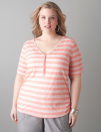 Full figure Striped slub henley tee by Lane Bryant