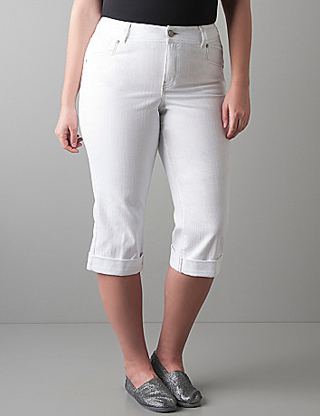 Full figure Medium wash denim capri by Lane Bryant