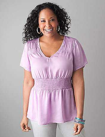 Smocked waist blouse by Lane Bryant