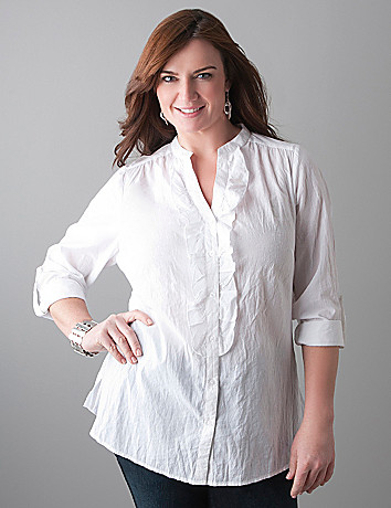 Roll sleeve ruffle blouse by Lane Bryant