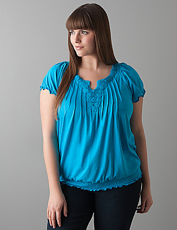 Crochet trim peasant top by Lane Bryant