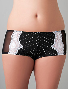 Polka dot & lace boyshort by Cacique